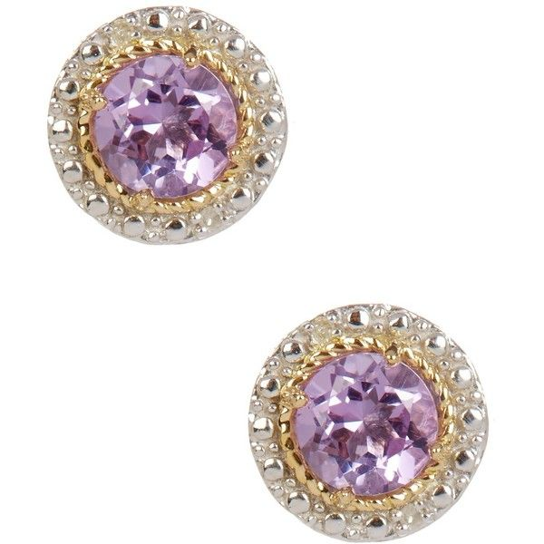 Phillip Gavriel 18K Yellow Gold & Sterling Silver Pink Amethyst &... ($114) ❤ liked on Polyvore featuring jewelry, earrings, diamond stud earrings, sterling silver amethyst earrings, pink diamond earrings, sterling silver diamond earrings and sterling silver post earrings