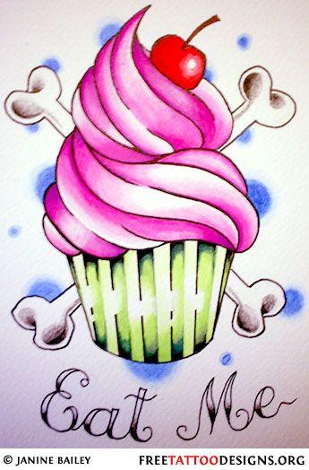 Cupcake tattoo minus the bones
