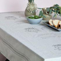 Grey Script and Stripe Oilcloth