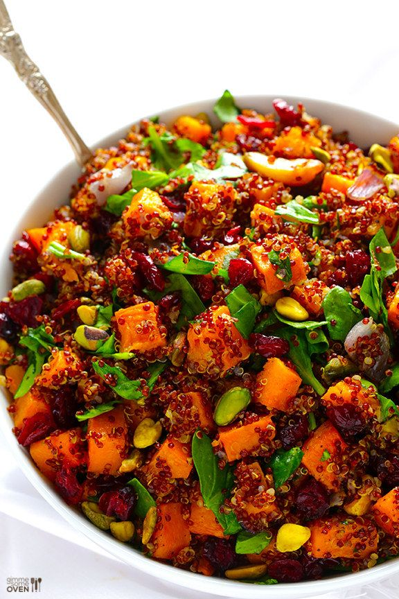 """Quinoa """"Stuffing"""" with Butternut Squash, Cranberries & Pistachios 