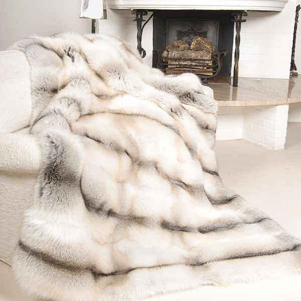 real fox fur throw, luxury natural white gray fox blanket