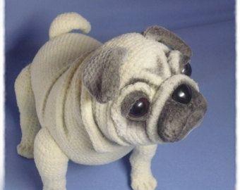 Mini Pug cachorro estilo frances por Owlystore en Etsy