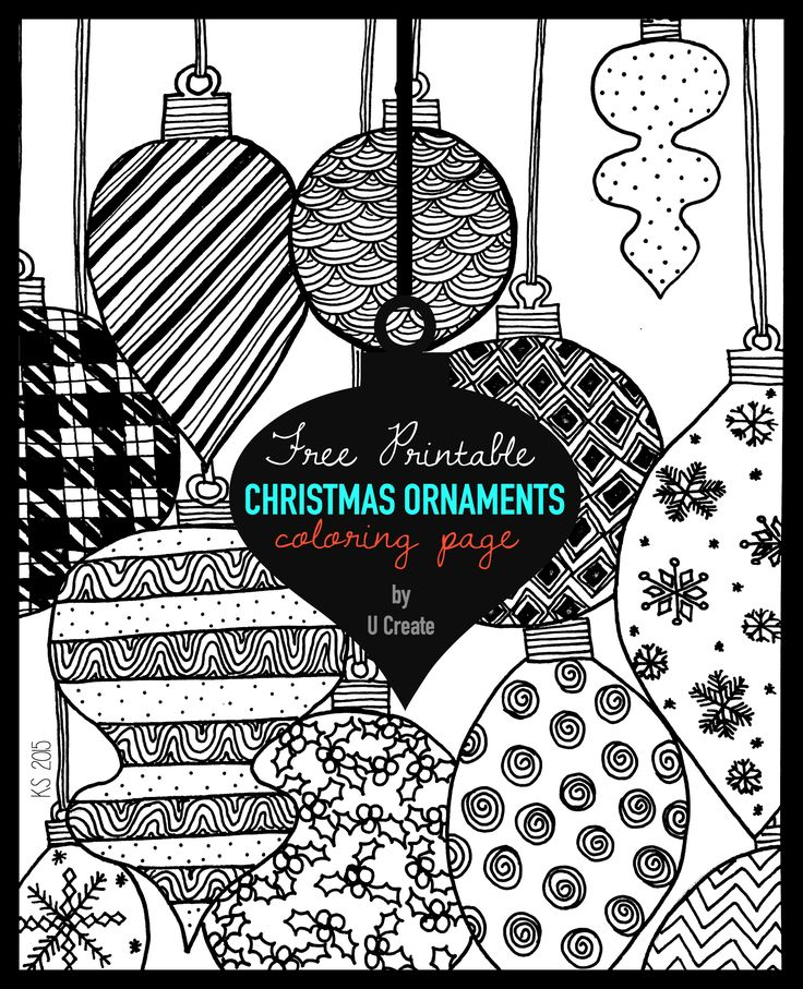 adult coloring page printable by u create christmas ornaments