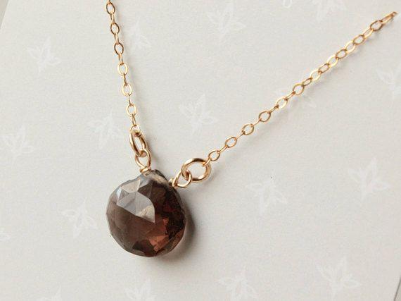 Smokey Quartz Necklace 14kt Goldfilled brown black gemstone