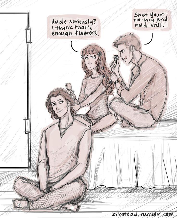 Sam, Dean, and Charlie having a real slumber party <---------and braiding Sam's hair :)