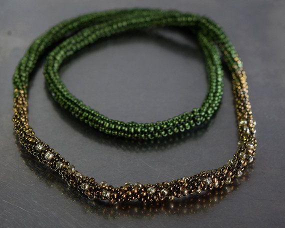 Green, silver and golden peyote necklace