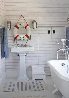 Coastal Bathroom with horizontal wood board paneling
