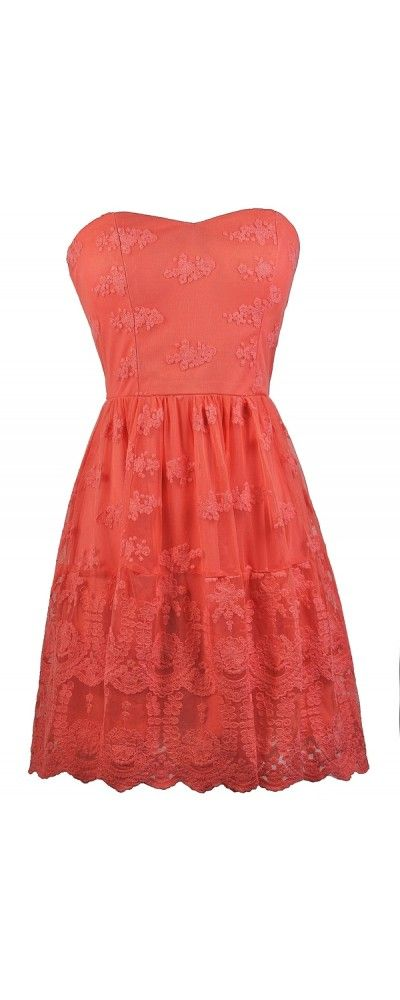 Lily Boutique Expertly Embroidered Mesh Strapless Dress in Pink Coral, $42 Coral Pink Embroidered Strapless Dress, Cute Coral Pink A-Line Dress, Coral Pink Embroidered Sundress, Coral Pink Party Dress www.lilyboutique.com