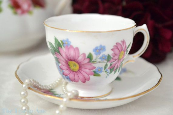 Royal Vale Teacup and Saucer With Deep Pink by TheTeacupAttic