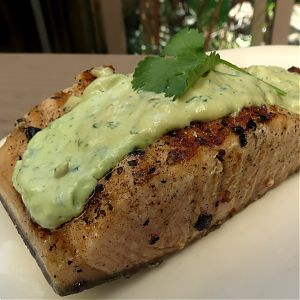 salmon with cilantro-wasabi aioli... this recipe + BrokeAss Gourmet = amazing!!