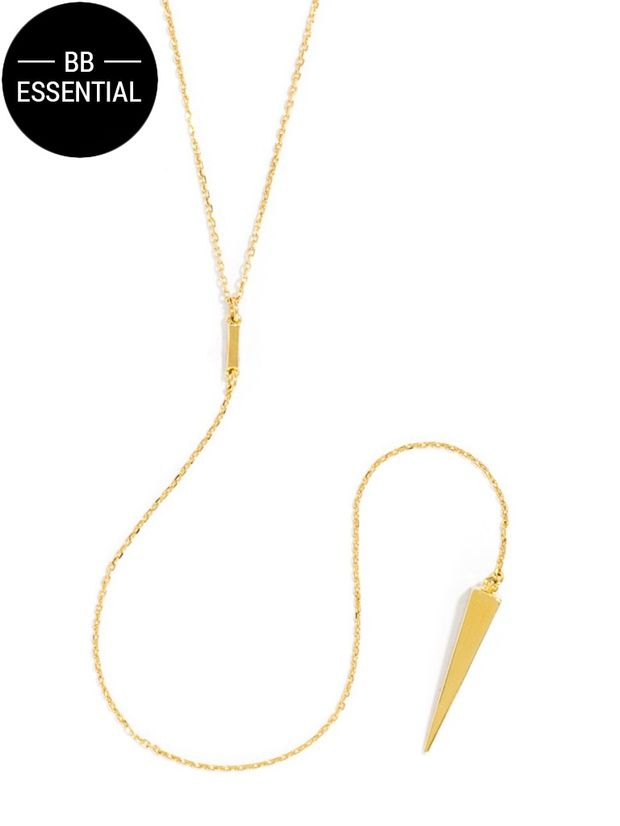 This of-the-moment silhouette get a little edgy with a sleek golden spike.