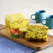 cake kukus labu kuning bintik cokelat