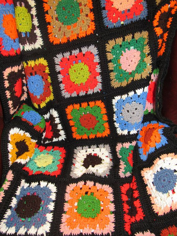 Vintage French Large Hand Made Crochet Rust Coloured Granny Blanket  Throw