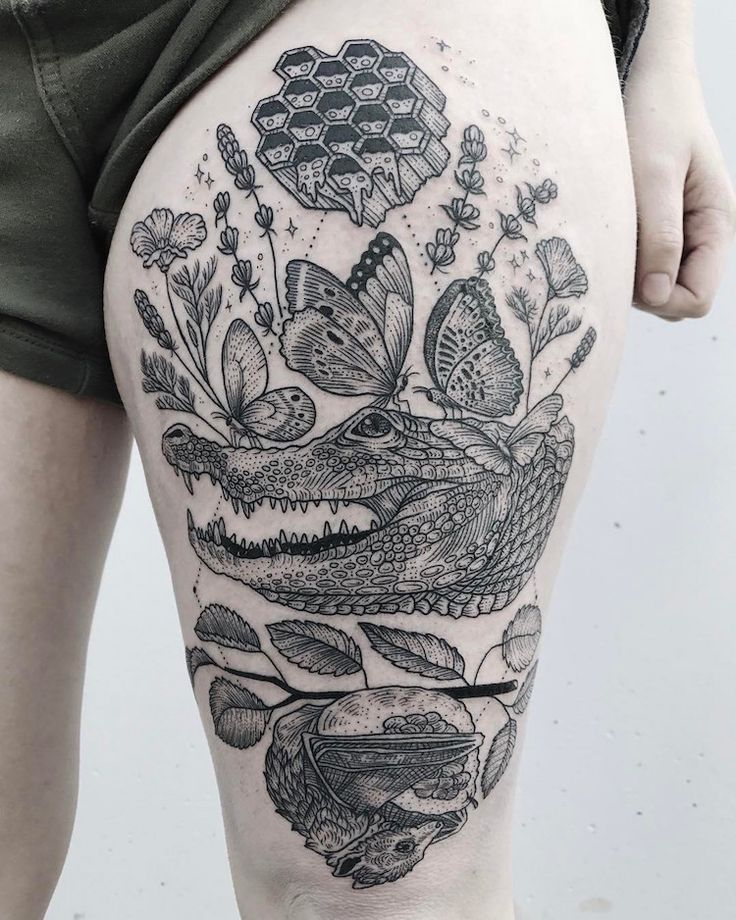 Artist Pony Reinhardt creates large-scale tattoos inspired by the natural world. Each nature tattoo incorporates a whimsical range of elements.