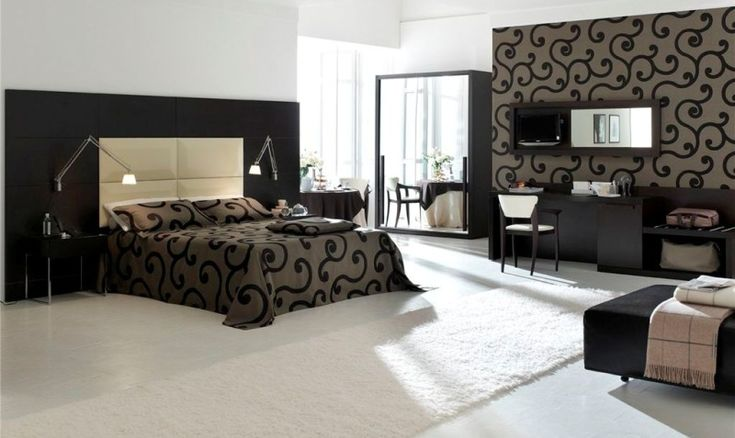 Elegant and Luxurious Modern Bedroom Design with Matching Wallpaper and Bedding