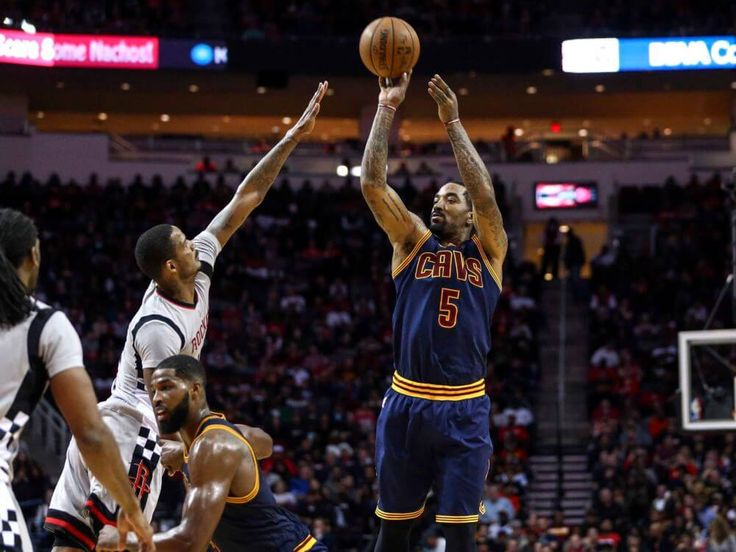 Mar 12, 2017; Houston, TX, USA; Cleveland Cavaliers guard J.R. Smith (5) shoots the ball during the third quarter against the Houston Rockets at Toyota Center. Mandatory Credit: Troy Taormina-USA TODAY Sports