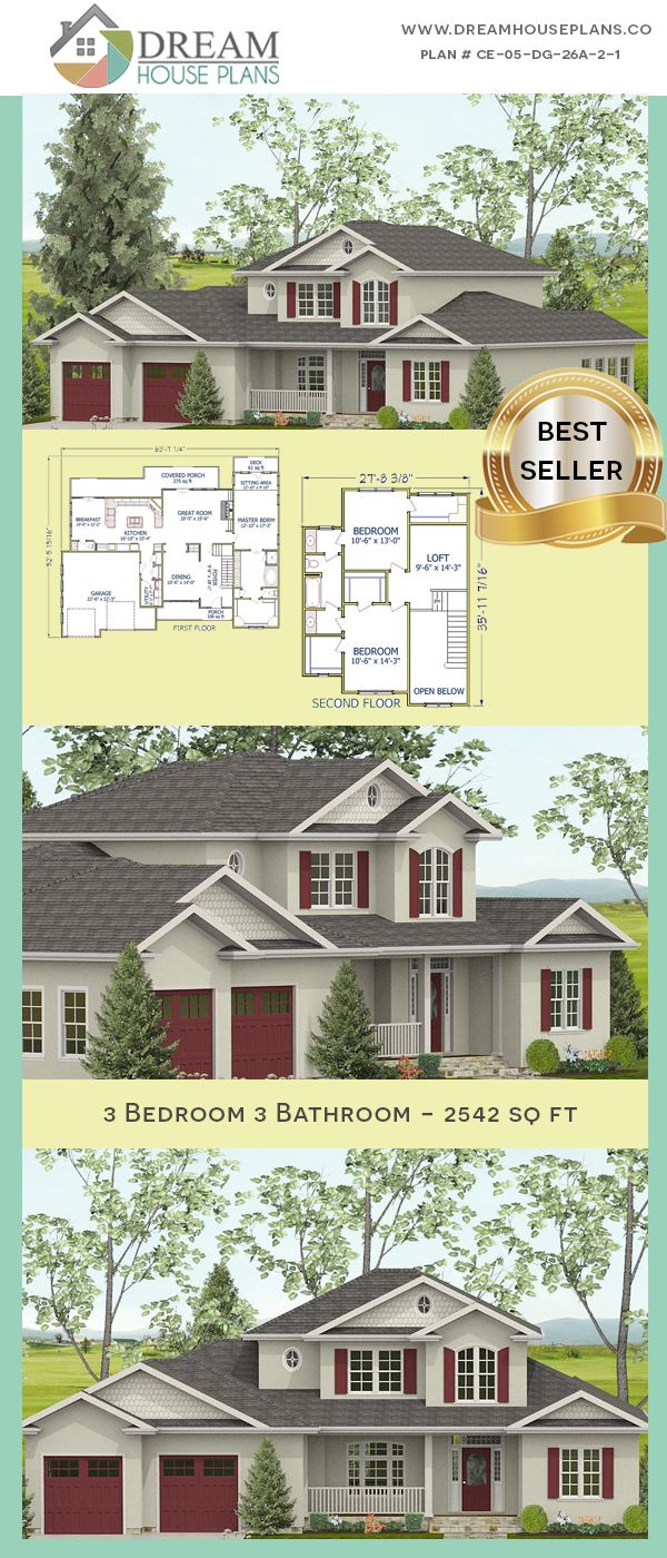 Dream House Plans Best Craftsman 3 Bedroom 2542 Sq Ft Home Plan With Porches Open Floor Plan Wi Southern House Plans Dream House Plans Porch House Plans