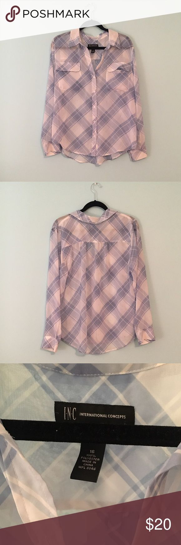 INC plaid chiffon button down top Near new condition. See-thru chiffon material, so wear a blue or white tank top with it or bandeau. Flowy and feminine. INC International Concepts Tops Button Down Shirts