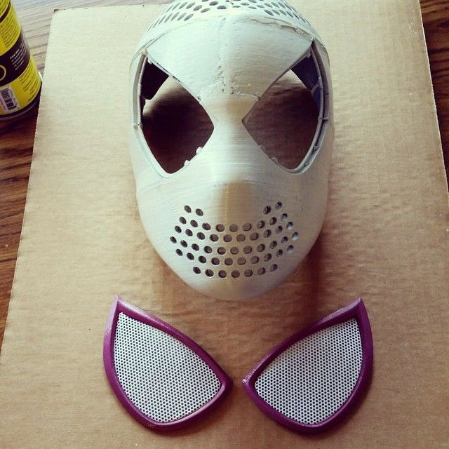 Spider Gwen faceshell and lenses!!!!! Constructed by @bboyspiderman #spidergwen…