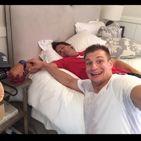 Gronks priceless! No napping on Gronks watch! @Patriots #AprilFools4/1/16 #Gronk #TomBrady