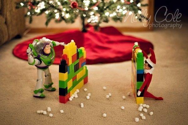 Snowball Fight | Genius Elf On The Shelf Ideas. #elfontheshelf #elfonashelf #elf #Christmas #ideas