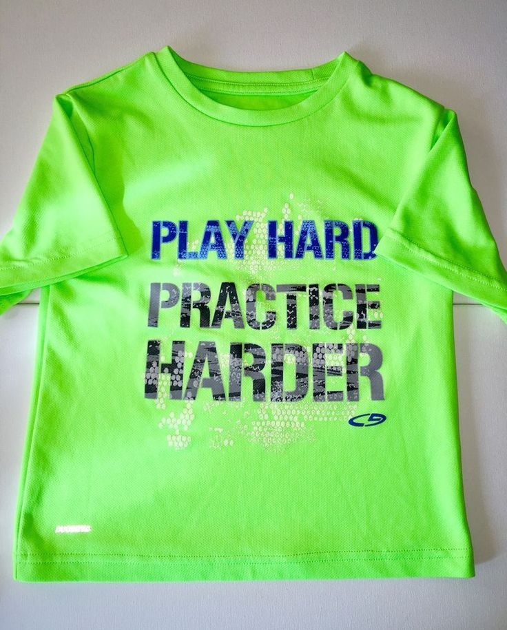 Boys Champion Sports Shirt Neon Green Size XS 4-5T Play Hard Practice Harder  | eBay