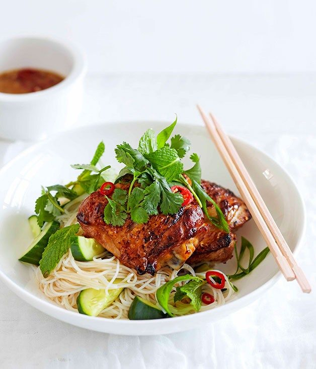 Lime Leaf Chicken with Rice Noodles and Cucumber