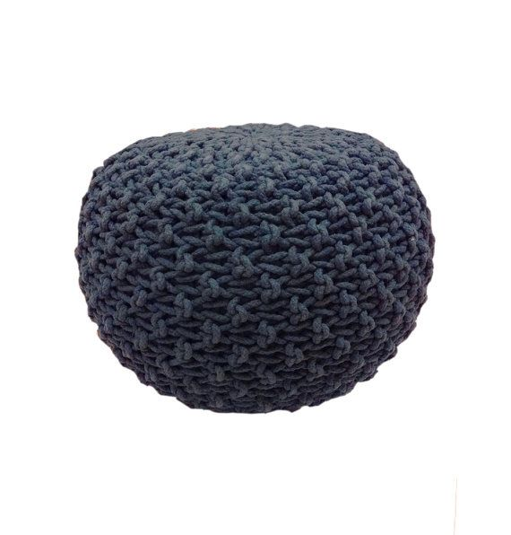 Handmade Knitted Pouf | Navy Blue | Hand Knit Pouf Ottoman Footstool