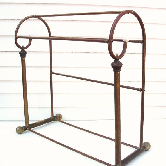 Vintage Brass Quilt Rack Blanket Stand Metal Valet Stand Towel Rack Quilt Rack Metal Valet Vintage Brass
