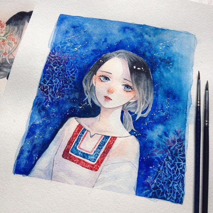 New piece of work ~( ' v ' ~ )  Blue tone is always my favourite ( ̄▽ ̄)  #drawing #illustration #manga #watercolor #bluetone #Rinnmr