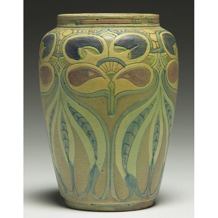 "Frederick Hurten Rhead (1880–1942) - Vase. Glazed & Incised Pottery. Circa 1910. 6-1/4"" x 4""."