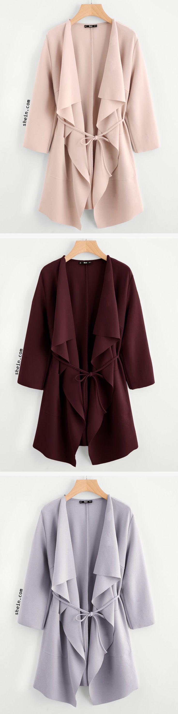 Waterfall Collar Pocket Front Wrap Coat
