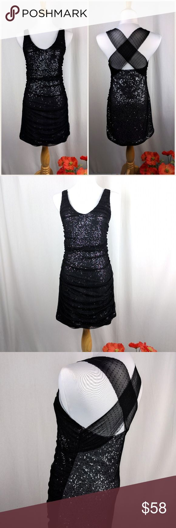 "Express Sequin Polka Dot Mesh Cocktail Dress M Express Sequin Polka Dot Mesh Cocktail Dress. Size Medium. Silver sequin with gathered polka dot mesh draped over the front in a double layer, single layer over back. Criss Cross mesh back. Bodycon fit. Very stretchy. Fully lined. Length- 32"" Bust- 34"" Waist- 32"" Excellent condition. No trades, offers welcome! Bundle to save! Express Dresses Mini"