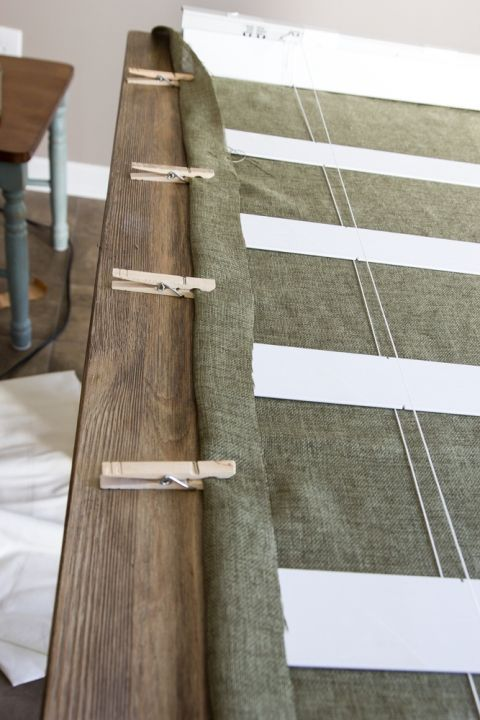 DIY Burlap Roman Shades from Blinds | blesserhouse.com - A beautiful way to make pricey looking window shades for cheap!