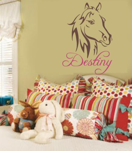 western horse pretty pony wall decal personalize for your little cowgirl