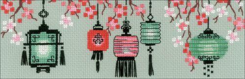 "14 Count RIOLIS Counted Cross Stitch Kit 3.25/""X3.25/""-Lanterns"