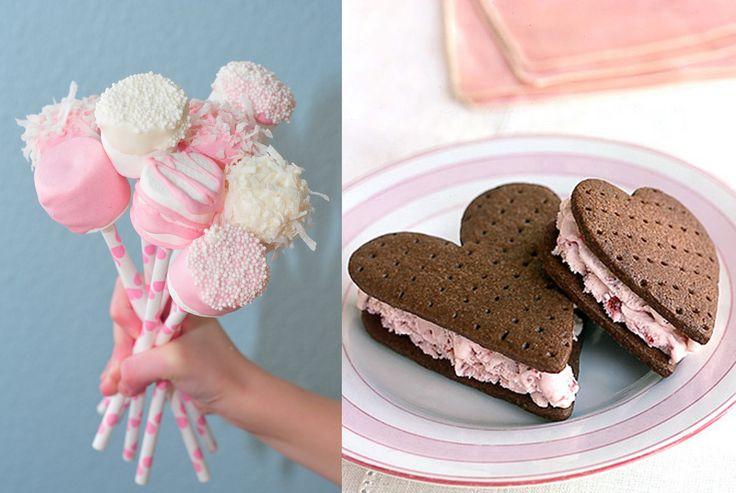 marshmellow pops & heart ice cream sandwiches :)