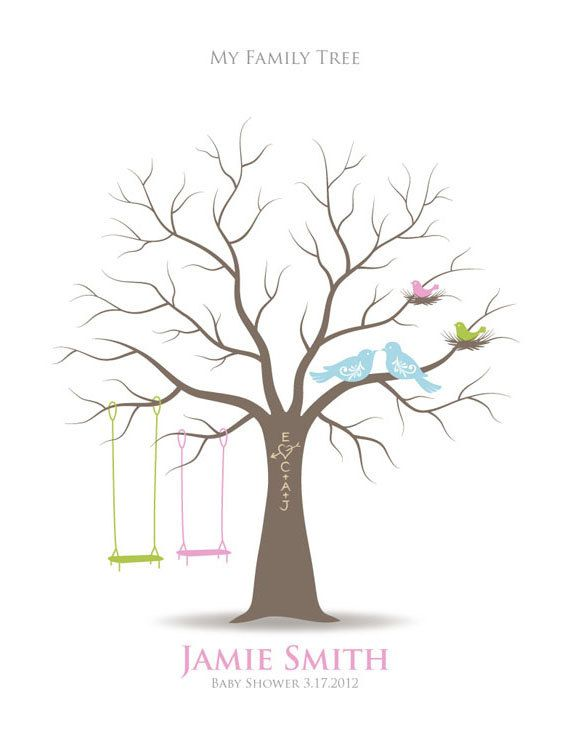 Baby Shower Thumbprint Tree Guest Signature Poster with Ink Pad, Nursery Wall Art, Personalized Print w/ Love Birds & Swings, 11x14