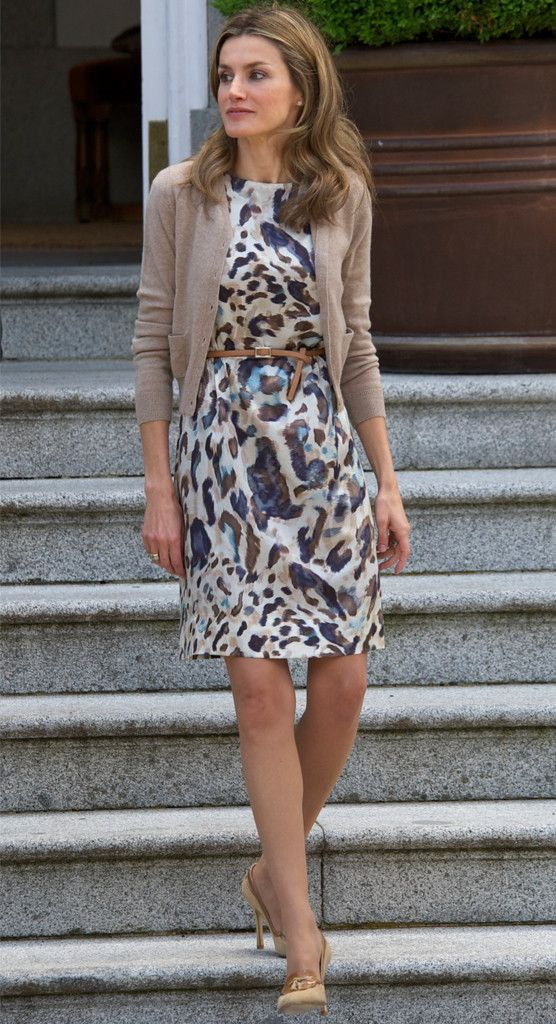 Queen Letizia of Spain... While Letizia looks fab in solid colors, she also really knows how to work a print.