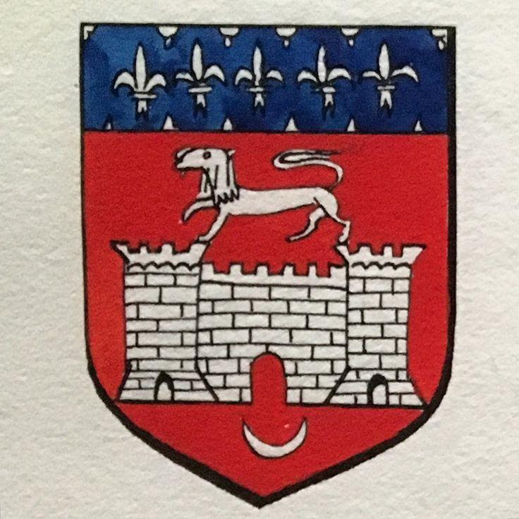 """Détail armoiries de la ville de Bordeaux de """"Ensemble d'armoiries de villes de France"""" d'Amadeo De Souza-Cardoso. Vers 1912 Graphite, encre de Chine, gouache sur papier."""