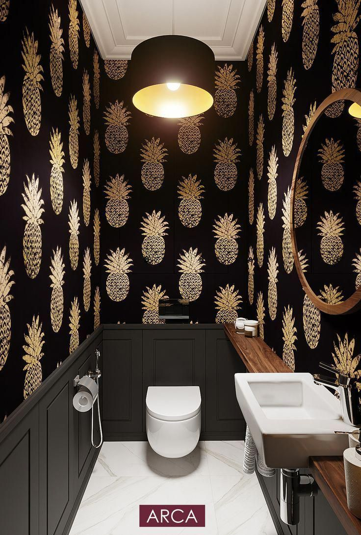 Toilette Schwarze Schone Toilette Goldene Toilette Tapeten In Der Toilette Anan Smalltoile In 2020 Stylish Bathroom Wallpaper Bathroom Walls Small Toilet Room