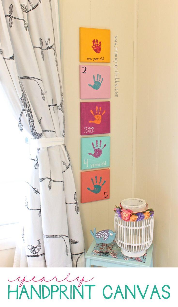 Handabdrücke jedes Jahr Kinderzimmer Deko