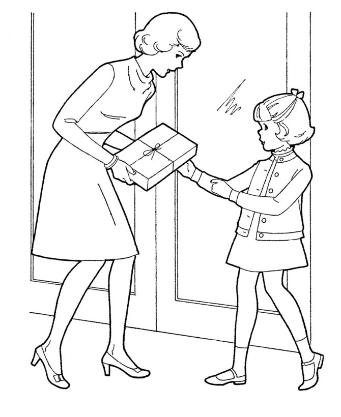 Mother's Day Coloring Pages - Mother's Day Present Coloring Page Sheets | HonkingDonkey