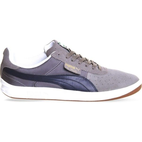 PUMA G vilas 2 suede trainers ($45) ❤ liked on Polyvore featuring shoes, sneakers, grey peacock gum, lacing sneakers, round toe sneakers, gray sneakers, grey sneakers and lace up sneakers
