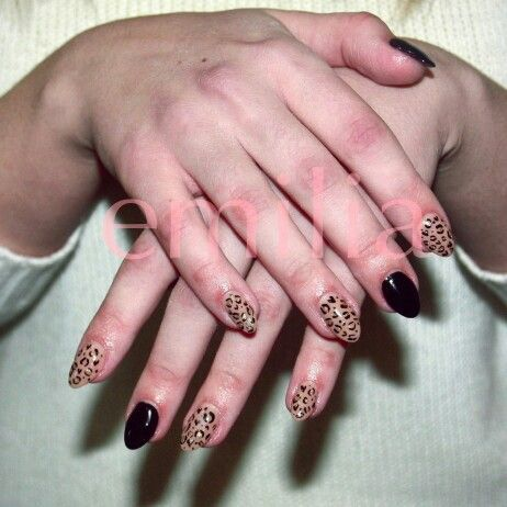 nails by Emilia panter design, black, nude, leopard, spots, animal