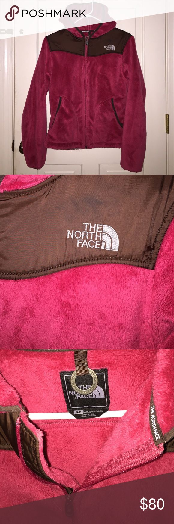 🎀 HOLIDAY CLEAN OUT🎀 Pink fuzzy North Face with brown patching. Size Small worn maybe once for a couple hours. Zipper pockets on both sides. Stretch sleeves around the wrists. Has a hood. There are no flaws. North Face Jackets & Coats