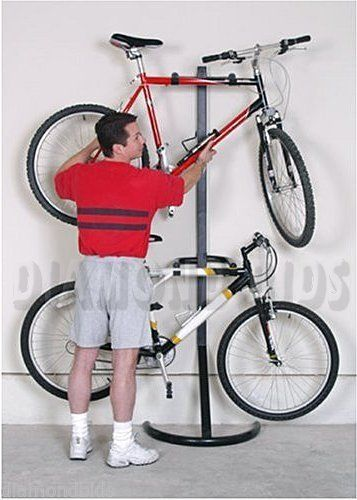 Two-Bike-Stand-Rack-Storage-Bicycle-Gravity-Freestanding-Garage-Floor-Wall-Mount