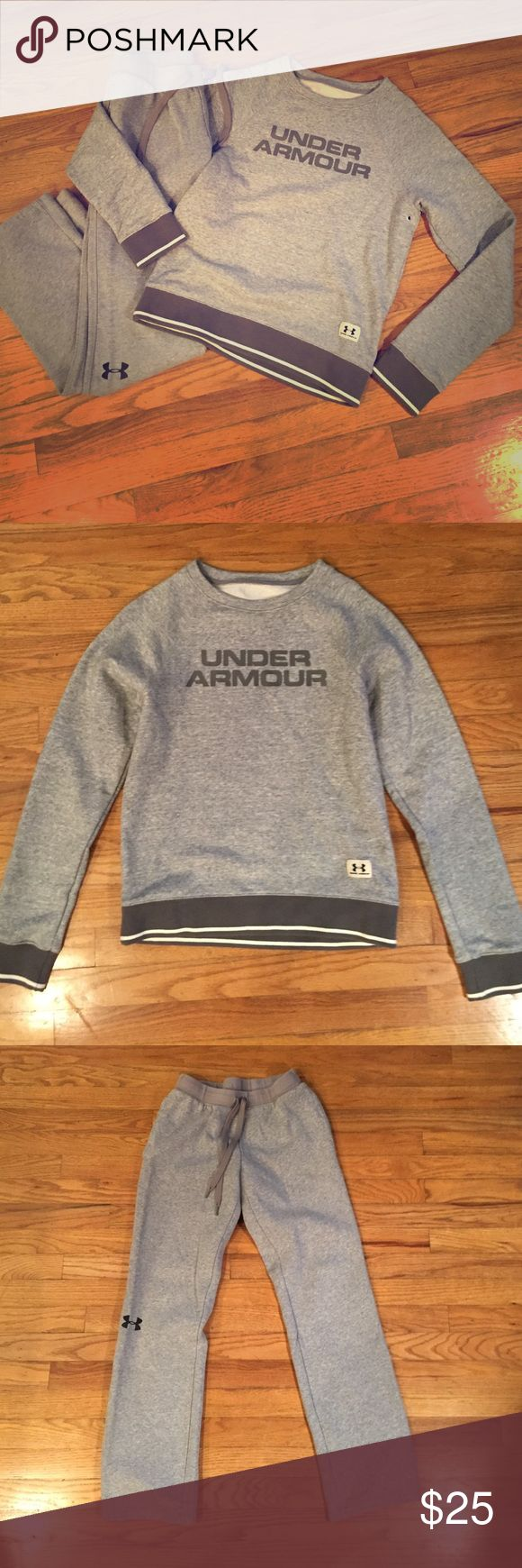 Under Armoir sweatshirt and pants UA crew sweatshirt and pants. Excellent preloved condition! Gray and a size small. Listing is for both pieces Under Armour Tops Sweatshirts & Hoodies