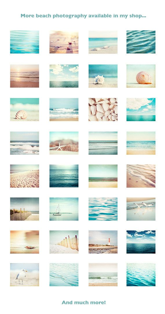 Beach Photo Set – Six 11×14, 8×10, 5×7 Photographs – coastal photography aqua blue print set ocean seashells white cream beige wall art