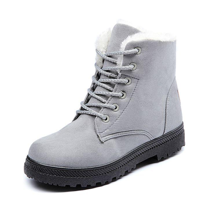 2016新しいホット女性のブーツ雪暖かい冬のブーツbota ş mujerレースアップ毛皮アンクルブーツ女性の冬の靴黒赤のトップかかと